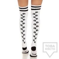 Дамски дълги чорапи KrakMe - Kitty Cat white