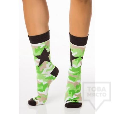 Дамски къси чорапи KrakMe - Military Star Green