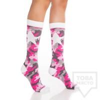 Дамски дълги чорапи KrakMe - Military Star Pink