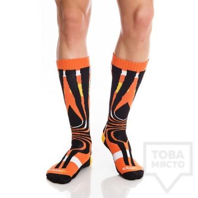 Мъжки дълги чорапи KrakMe - Tequila Sunrise Orange