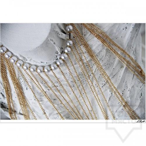 Дизайнерско колие LXA - Golden Pearls