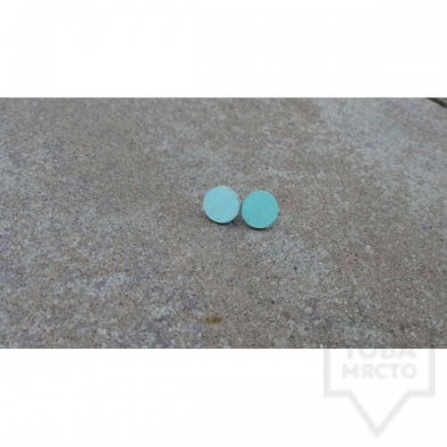 Дървени обеци Lollipop - Небесно сини