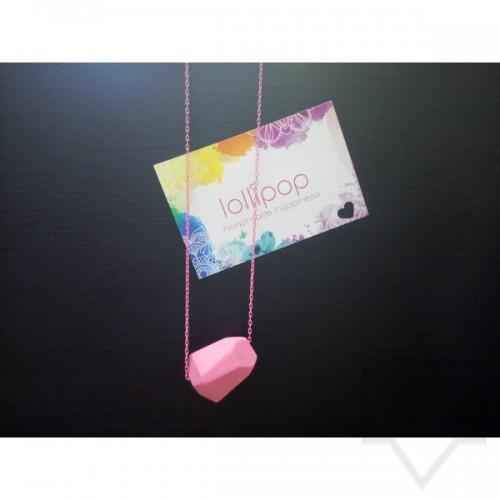 Ръчно изработено колие Lollipop - дърво и верижка - розово