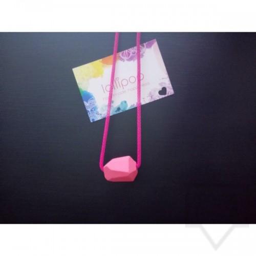 Ръчно изработено колие Lollipop - дърво и верижка - цикламено