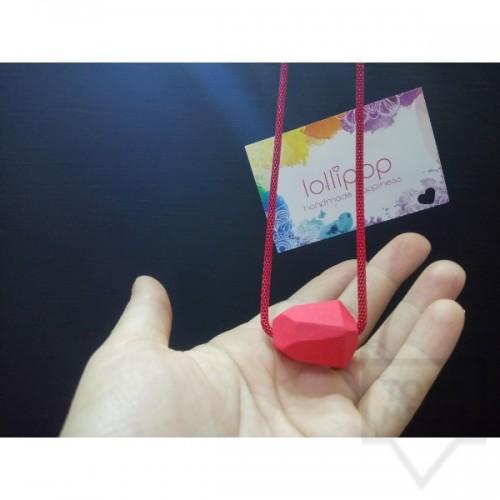Ръчно изработено колие Lollipop - дърво и верижка - червено