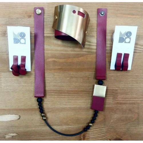 Колие с гривна и обеци MODO - Burgundy