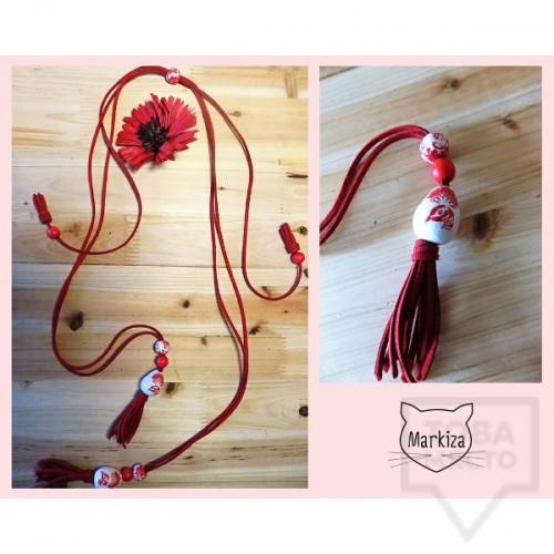 Дизайнерско колие Markiza - Red Flowers