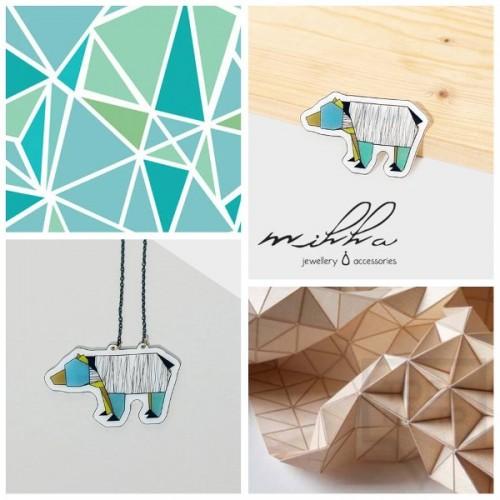 Дизайнерско колие Mihha - Origami Bear