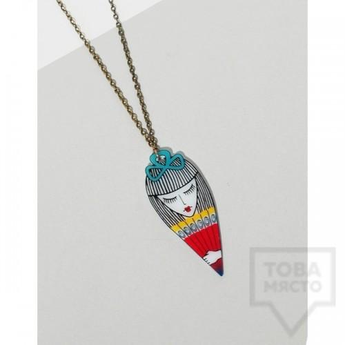 Дизайнерско колие Mihha - Girl with a fan