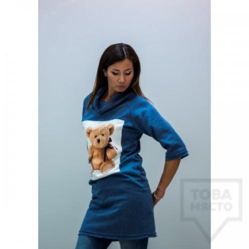 Дамска туника My Magenta - мечо пух в синьо