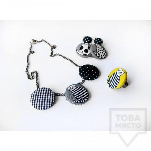 Дизайнерско колие Nadya's Knit - Котка в мъгла