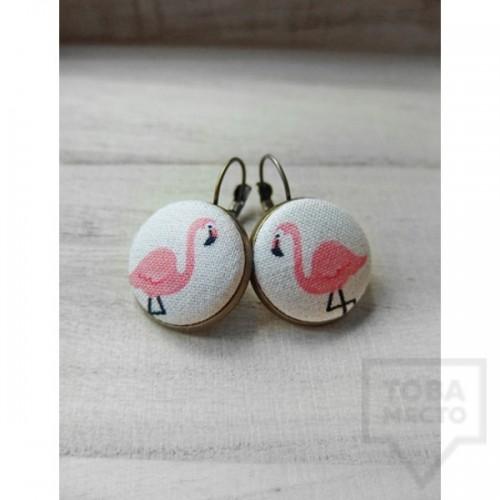 Обеци Nadya's Knit - фламинго