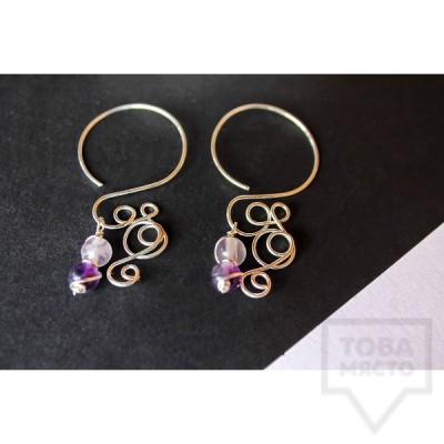 Дизайнерски обеци Nimeria Shop - Silver Knots Purple swirls