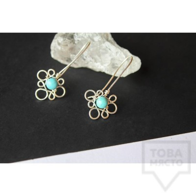 Дизайнерски обеци Nimeria Shop - Silver Knots turquoise bubbles