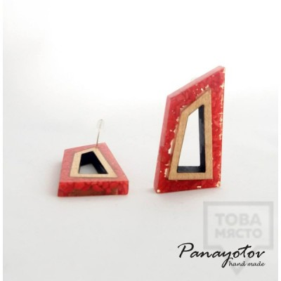 Ръчно изработени обеци Panayotov Handmade - Geometric Stones Red