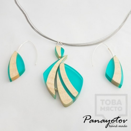 Дизайнерско колие  Panayotov Handmade - Blue Leaves