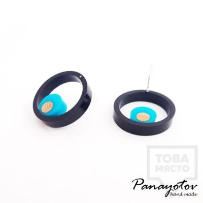 Дизайнерски обеци Panayotov Handmade - Black Circle