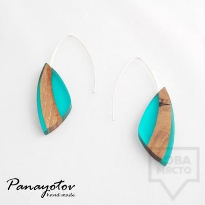 Дизайнерски обеци Panayotov Handmade - Blue Leaves