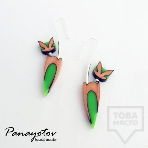 Дизайнерски обеци Panayotov Handmade - Green Cats