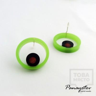 Дизайнерски обеци Panayotov Handmade - Green Circle