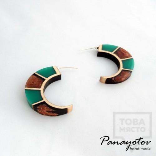 Дизайнерски обеци Panayotov Handmade - Green Moon
