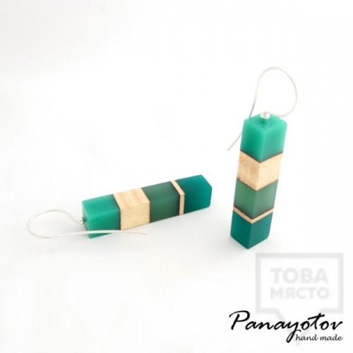 Дизайнерски обеци Panayotov Handmade - Green Square
