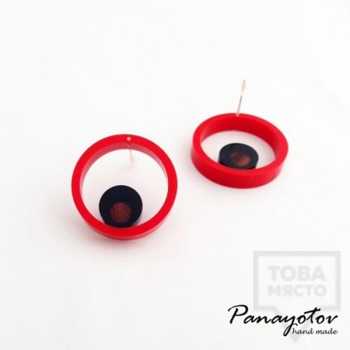 Дизайнерски обеци Panayotov Handmade - Red Circle