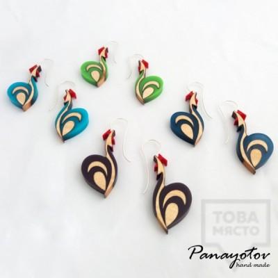 Дизайнерски обеци Panayotov Handmade - Rooster