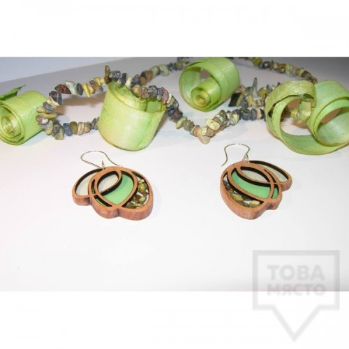 Дизайнерски обеци Panayotov Handmade - green butterfly