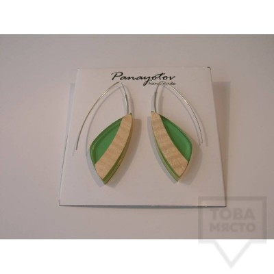 Дизайнерски обеци Panayotov Handmade - green leaves