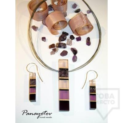 Дизайнерски обеци Panayotov Handmade - lilla cubes