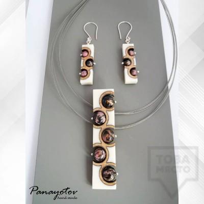 Комплект бижута колие и обеци Panayotov - stone rust