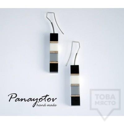 Дизайнерски обеци Panayotov Handmade - grey cubes