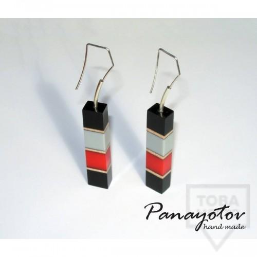 Дизайнерски обеци Panayotov Handmade - red cubes