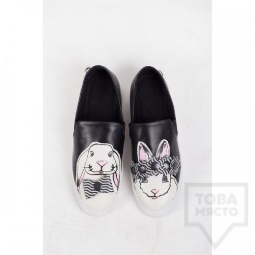 Дамски slip-on кецове Pesh.Art - 3D Bunnies Black Multi
