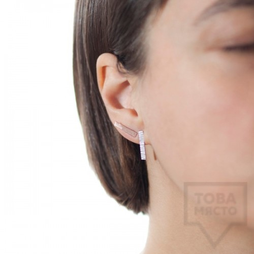 Ковани сребърни обеци - Pin сребристи