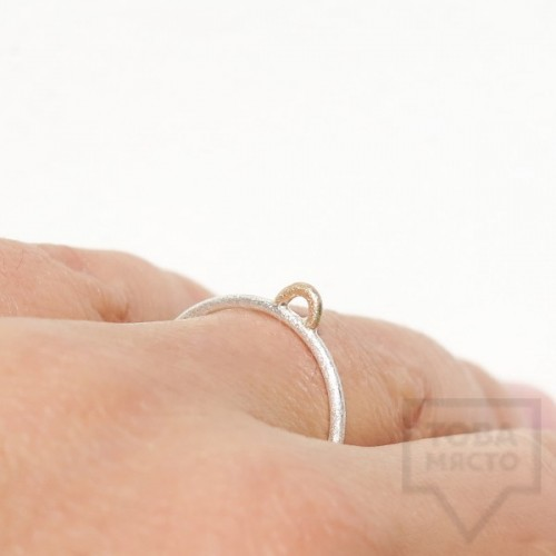 Сребърен пръстен Pin - със златен елемент 2 сребрист