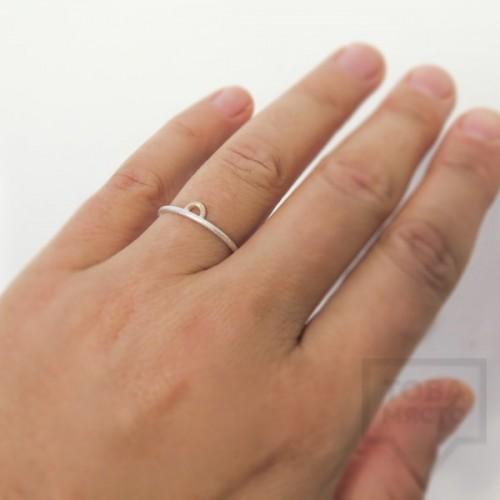 Сребърен пръстен Pin - със златен елемент 3 сребрист