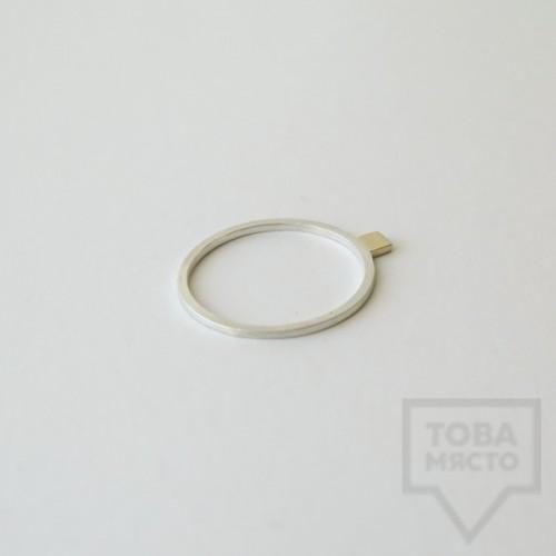 Сребърен пръстен Pin - със златен елемент 4 сребрист