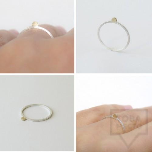 Сребърен пръстен Pin - със златен елемент 5 сребрист