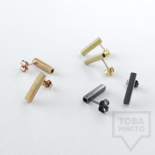 Сребърни обеци квадратна тръбичка Pin - жълто злато
