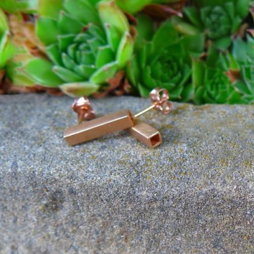 Сребърни обеци квадратна тръбичка Pin - розово злато