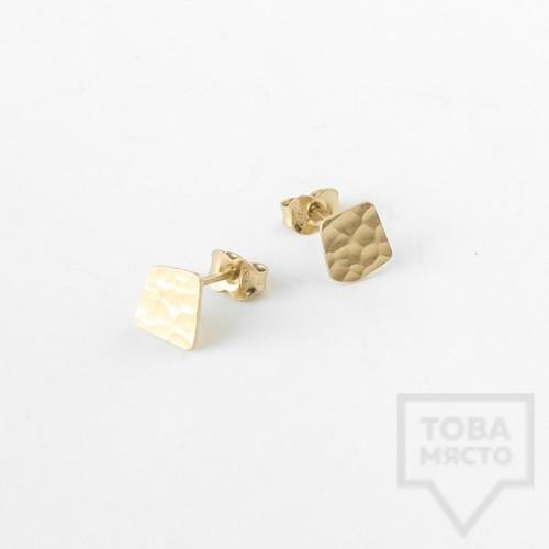Асиметрични сребърни обеци Pin - жълто злато