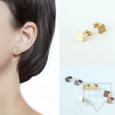 Асиметрични сребърни обеци Pin - розово злато