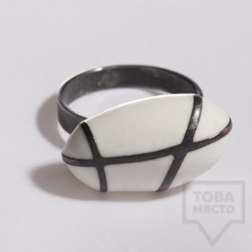 Сребърен пръстен Polina Dimitrova - stone geometry white