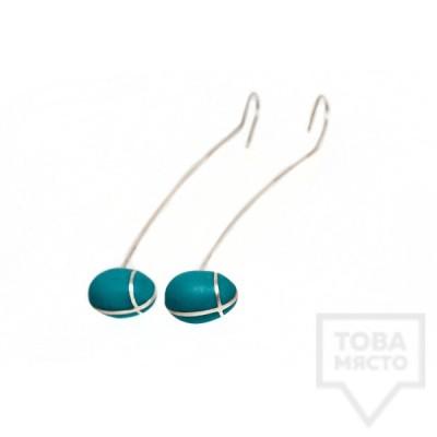 Дълги сребърни обеци Polina Dimitrova- turquoise geometry