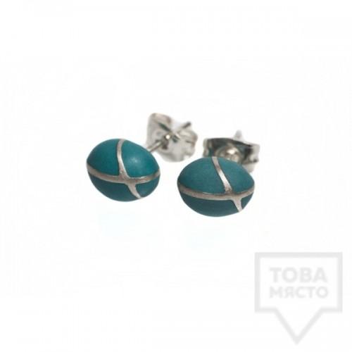 Сребърни обеци Polina Dimitrova - minimalistic drop green
