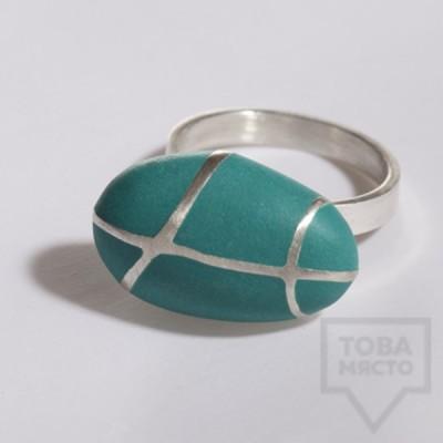 Сребърен пръстен Polina Dimitrova - stone geometry green