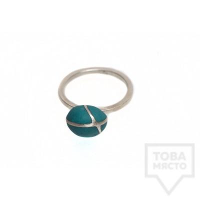 Сребърен пръстен Polina Dimitrova-minimalistic turquoise