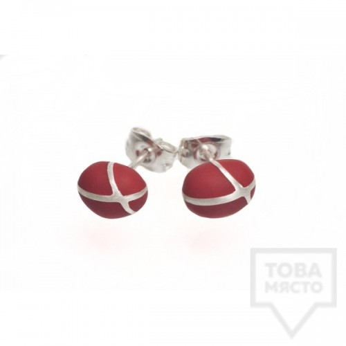 Сребърни обеци Polina Dimitrova - minimalistic drop red